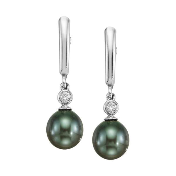 14K White Gold Tahitian Pearl 9mm/Diamond Lever Back Dangle Earrings