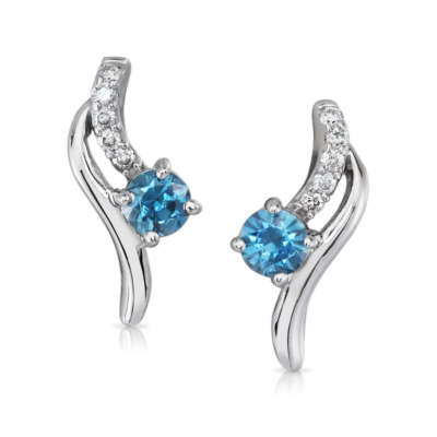 14K White Gold Blue Zircon/Diamond Earrings