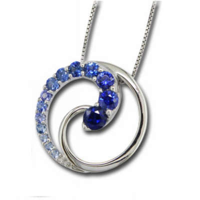 14K White Gold Graduated Blue Sapphire Pendant