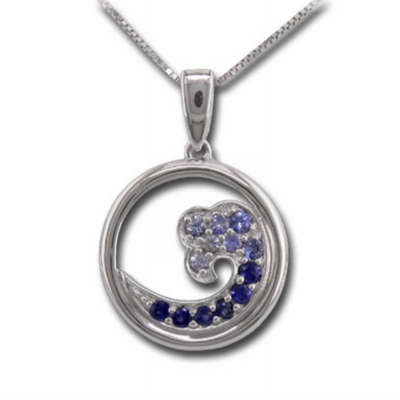 Sterling Silver Nature Graduated Blue Sapphire Wave 15mm Pendant