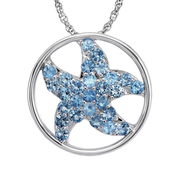 Sterling Silver Blue Topaz Starfish Pendant