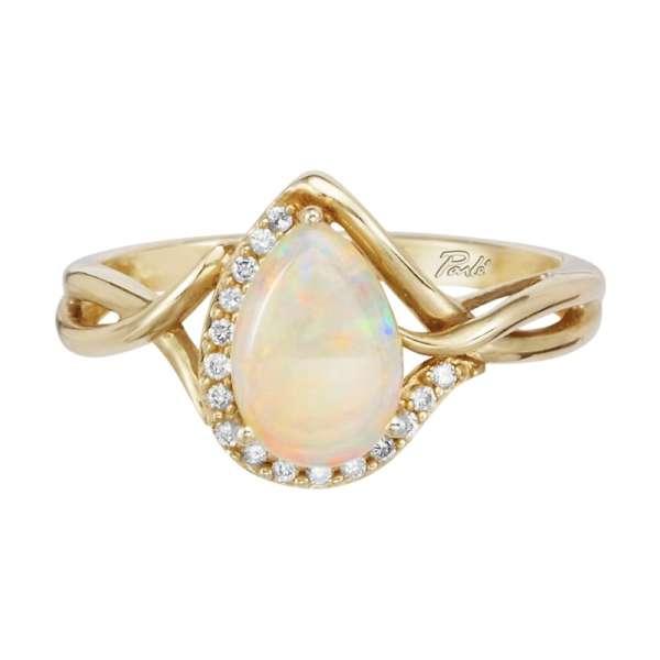 14K Yellow Gold Australian Opal/Diamond Ring
